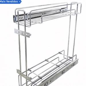 Porta Latas Duplo R1 Cromado de Fixação Lateral Jomer - Modelo: 9810 Arte Real Loja e Marcenaria - Poços de Caldas - MG